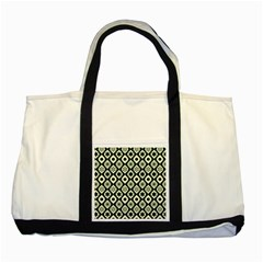 Green Ornate Christmas Pattern Two Tone Tote Bag