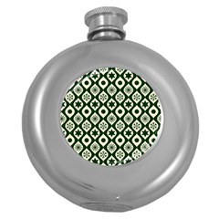 Green Ornate Christmas Pattern Round Hip Flask (5 Oz) by patternstudio