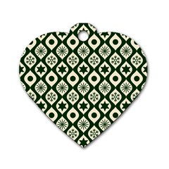 Green Ornate Christmas Pattern Dog Tag Heart (one Side) by patternstudio