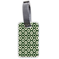 Green Ornate Christmas Pattern Luggage Tags (two Sides)