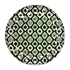 Green Ornate Christmas Pattern Round Filigree Ornament (two Sides) by patternstudio