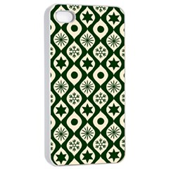 Green Ornate Christmas Pattern Apple Iphone 4/4s Seamless Case (white) by patternstudio