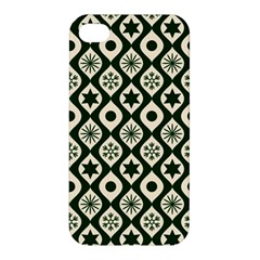 Green Ornate Christmas Pattern Apple Iphone 4/4s Hardshell Case by patternstudio