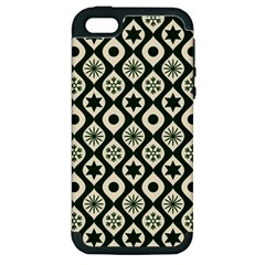Green Ornate Christmas Pattern Apple Iphone 5 Hardshell Case (pc+silicone) by patternstudio