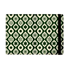 Green Ornate Christmas Pattern Apple Ipad Mini Flip Case