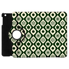 Green Ornate Christmas Pattern Apple Ipad Mini Flip 360 Case by patternstudio