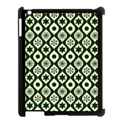 Green Ornate Christmas Pattern Apple Ipad 3/4 Case (black) by patternstudio