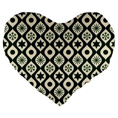 Green Ornate Christmas Pattern Large 19  Premium Heart Shape Cushions by patternstudio