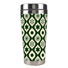 Green Ornate Christmas Pattern Stainless Steel Travel Tumblers by patternstudio
