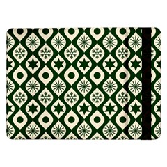 Green Ornate Christmas Pattern Samsung Galaxy Tab Pro 12 2  Flip Case by patternstudio