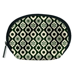 Green Ornate Christmas Pattern Accessory Pouches (medium)  by patternstudio