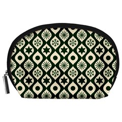 Green Ornate Christmas Pattern Accessory Pouches (large)  by patternstudio