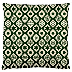 Green Ornate Christmas Pattern Large Flano Cushion Case (two Sides) by patternstudio
