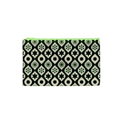 Green Ornate Christmas Pattern Cosmetic Bag (xs) by patternstudio