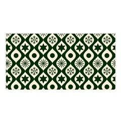 Green Ornate Christmas Pattern Satin Shawl by patternstudio