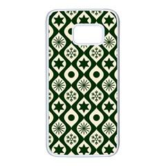 Green Ornate Christmas Pattern Samsung Galaxy S7 White Seamless Case by patternstudio