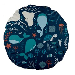 Cool Sea Life Pattern Large 18  Premium Flano Round Cushions