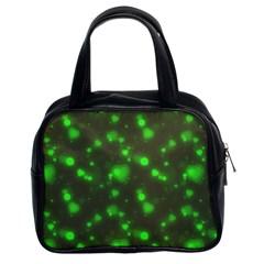 Neon Green Bubble Hearts Classic Handbags (2 Sides) by PodArtist