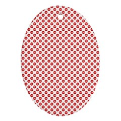 Sexy Red And White Polka Dot Ornament (oval) by PodArtist