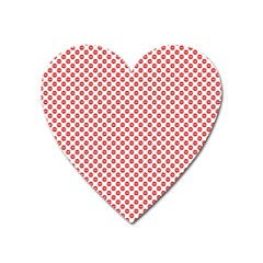 Sexy Red And White Polka Dot Heart Magnet by PodArtist