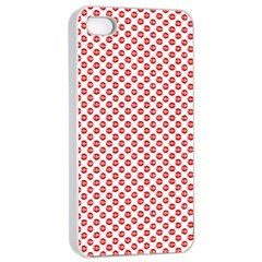 Sexy Red And White Polka Dot Apple Iphone 4/4s Seamless Case (white) by PodArtist