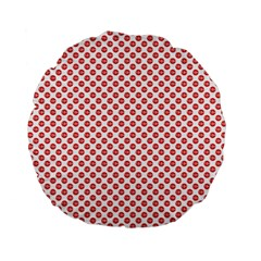 Sexy Red And White Polka Dot Standard 15  Premium Round Cushions by PodArtist