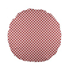 Sexy Red And White Polka Dot Standard 15  Premium Flano Round Cushions by PodArtist