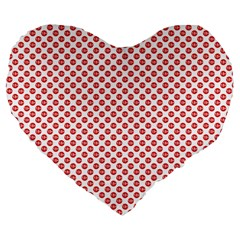 Sexy Red And White Polka Dot Large 19  Premium Flano Heart Shape Cushions by PodArtist