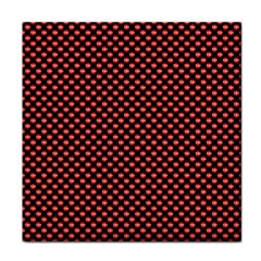 Sexy Red And Black Polka Dot Tile Coasters by PodArtist