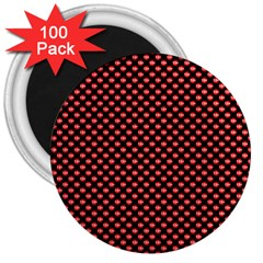 Sexy Red And Black Polka Dot 3  Magnets (100 Pack) by PodArtist