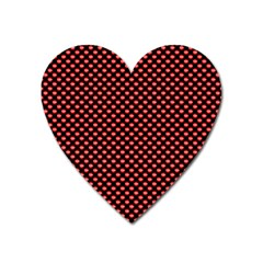 Sexy Red And Black Polka Dot Heart Magnet by PodArtist