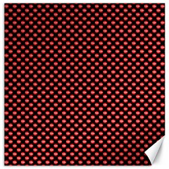 Sexy Red And Black Polka Dot Canvas 12  X 12   by PodArtist