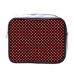 Sexy Red And Black Polka Dot Mini Toiletries Bags by PodArtist