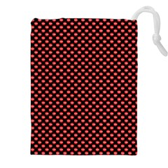 Sexy Red And Black Polka Dot Drawstring Pouches (xxl) by PodArtist