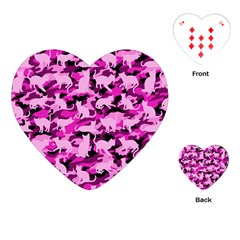 Hot Pink Catmouflage Camouflage Playing Cards (heart)  by PodArtist