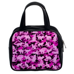 Hot Pink Catmouflage Camouflage Classic Handbags (2 Sides) by PodArtist
