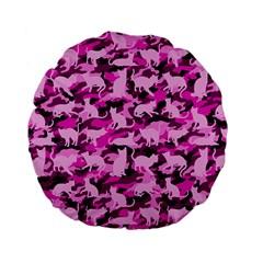 Hot Pink Catmouflage Camouflage Standard 15  Premium Flano Round Cushions by PodArtist