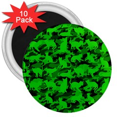 Bright Neon Green Catmouflage 3  Magnets (10 Pack)  by PodArtist