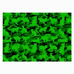 Bright Neon Green Catmouflage Large Glasses Cloth by PodArtist
