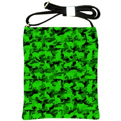 Bright Neon Green Catmouflage Shoulder Sling Bags by PodArtist