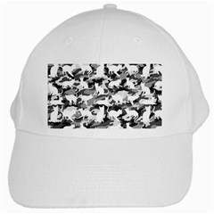 Black And White Catmouflage Camouflage White Cap by PodArtist