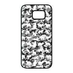 Black And White Catmouflage Camouflage Samsung Galaxy S7 Edge Black Seamless Case by PodArtist