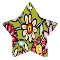 Flowers Fabrics Floral Design Star Ornament (two Sides)