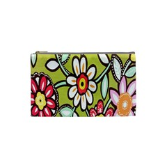 Flowers Fabrics Floral Design Cosmetic Bag (small)  by Celenk