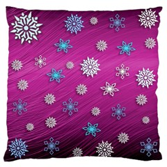 Snowflakes 3d Random Overlay Large Cushion Case (one Side) by Celenk