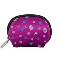 Snowflakes 3d Random Overlay Accessory Pouches (small)  by Celenk