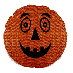 Fabric Halloween Pumpkin Funny Large 18  Premium Flano Round Cushions by Celenk