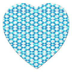 Fabric Geometric Aqua Crescents Jigsaw Puzzle (heart) by Celenk