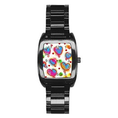 Love Hearts Shapes Doodle Art Stainless Steel Barrel Watch