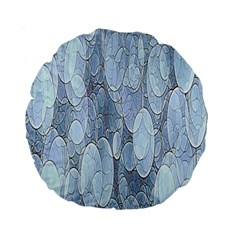 Bubbles Texture Blue Shades Standard 15  Premium Round Cushions by Celenk